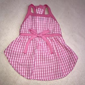 Dog Pet Pink White Dress Small Gingham Bow